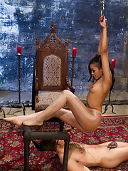Slutty black girl Skin Diamond punishes a horny stud with a strap-on