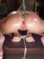 Voluptuous Russian whore gets bound greased ass-hooked until she cums hard! Newcomer