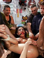 Princess Donna uses the spit from Vicki Chases throat to fist her asshole in public!!