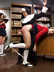 Sister Felony punishes and strap-on fucks two co-eds at the convent in this taboo