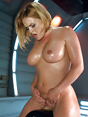 Her cunt swallows cock while the machines increase in speed. Her tight stomach luscious