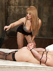 Art snob gets stripped naked punished and strap-on ass fucked by tough and sexy Romanian