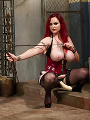 Wicked evil bitch dominatrix suspends electro-tortures beats and teases and denies