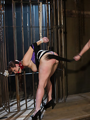 Big Boobs round ass submits to tough lesbian dominatrix with spanking suspension