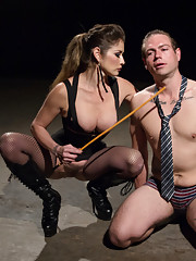 Business man learns the rules of a hot dominatrixs dungeon breaks them by losing