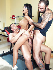 Sexy babe gets truly fucked by two guys while working out