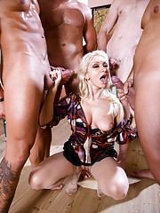 Nasty blonde babe Lea ends up with four dicks in her mouth