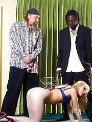 Blonde bitch in pantyhose abused and disgraced by two guys
