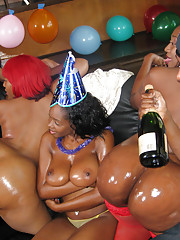 Wild pimp party show cases new young big titty whore
