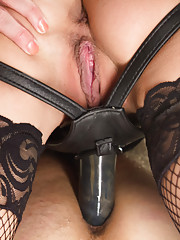 Mistress Gia Dimarco uses chastity tease denial strap-on ass fucking in suspension