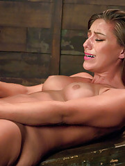 Pussy fucking a tall lean athlete with powerful machines that make her squirt and