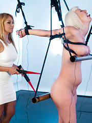Curvy blonde submissive in painful tongue-tied strapado predicament bondage gets
