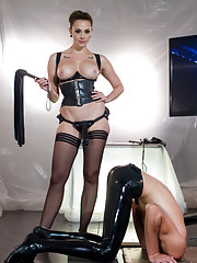 Chanel Preston has her way with rubber slave boy Foot and ass worship caning CBT