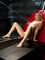 Pretzel girl fucked in contorted sexy positions by fast dominating machines. Her