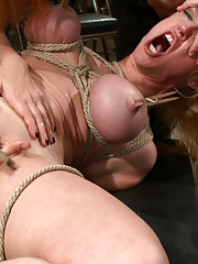 Darling gets fucked on camera for the first time at Kink.com while a crowd torments