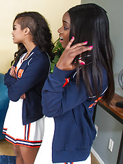Gorgeous ebony teen cheerleaders have hot sex with big cocked stud and all orgasm