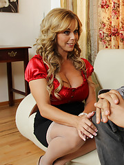 Blonde cougar gets what she wants by fucking younger cock in bed.
