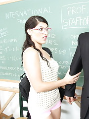 Hot brunette babe needs to pass her class so she fucks the teacher and loves his
