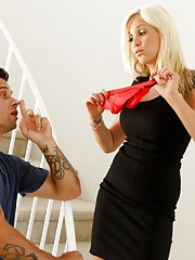 Sexy busty blonde babe guilt trips guy and gets fucked by his big cock.