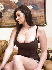 Busty brunette babe Sara Hide has sex with big married cock on the couch.
