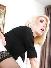 Hot blonde MILF Jodie Stacks kicks one guy out and makes the other guy fuck her on