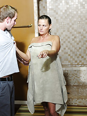 Hot MILF Becca Blossoms is surprised to see her sons friend after she showers but