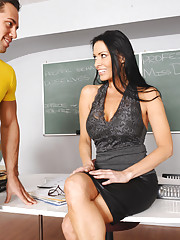 Vanilla DeVille talks to one of her students but then sucks his dick and gets fucked
