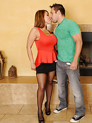 Busty cougar Ava Devine keeps one younger guy around so she can fuck him and get