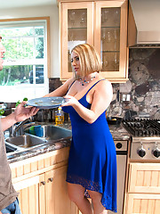 Maggie Green fucks big cocked guy in the kitchen and floor.