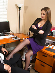 Dani Daniels punishes her worker then decides to make him punish her pussy and have