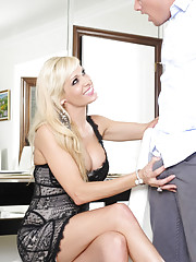 Mikki Lynn is waiting for her date but comes across her sons friend so she fucks