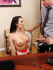 Alektra Blue is horny at the office and stuck so she decides to fuck a worker and