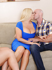 Alura Jenson  Karen Fisher have hot threesome with one lucky guy.