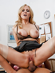 Hot blonde teacher with big breasts loves rough sex on her desk.