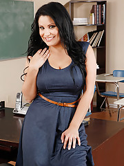 Sexy teacher has to chase her student around for her phone and then has sex with