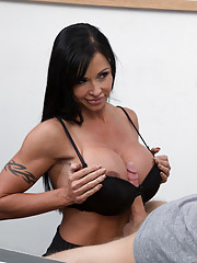 Busty hot brunette teacher Jewels Jade has hot sex with big cock and loves getting