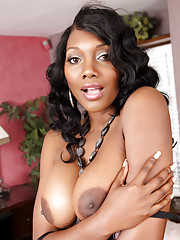 Busty black MILF Nyomi Banxxx lets a young stud pummel her black pussy