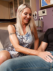 Gorgeous busty MILF Emma Starr has hot sex with big cocked friend of her sons.