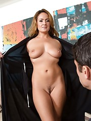Gorgeous older MILF goes and changes so she can fuck her sons friend.
