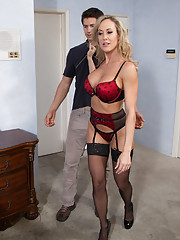 Sexy blonde MILF is video chatting and is walked in on so she fucks the younger guy