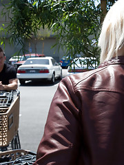 Busty blonde with big tits sees hot guy at grocery store so she decides to have hot