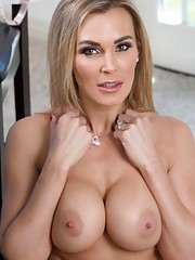 Sexy busty blonde Tanya Tate sees hot stranger pumping gas and she makes him follow