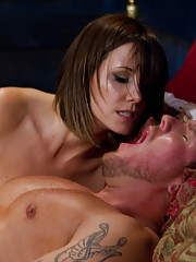 Maitresse Madeline tease and denies hot slaveboy by letting him fuck her pussy with