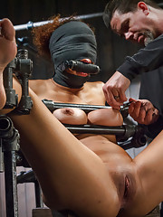 Big natural tits sensory deprivation chain suspension nipple torment pussy fucking