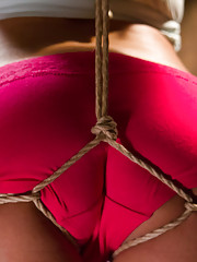 Petite Liv Aguilera ass tied up pussy fucked and vibrated brutal sideways suspension