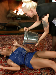A wealthy sadistic housewife gets tied up and zapped by her maid - cattle prod anal