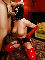 Darling in heavy rubber hard bondage and rough anal sex!