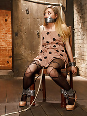 Hot Blonde taken in fantasy role play scenario tied up ass hooked fucked with dildo