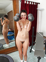 Sexy milf stays trim by working out her body and her pussy