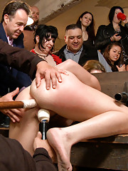 Moo! Midwestern whore bent over in stocks and fucked by Mr. Pete. Ass pounding cattle